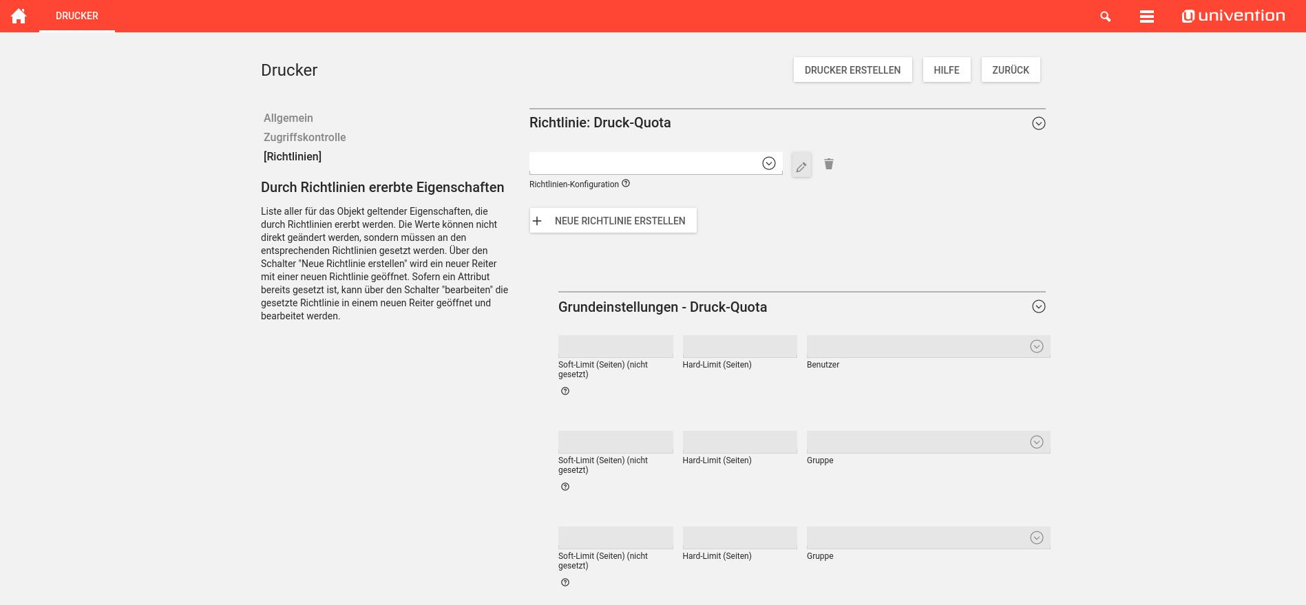 Screenshot Druckquota Richtlinienin UCS 4.2