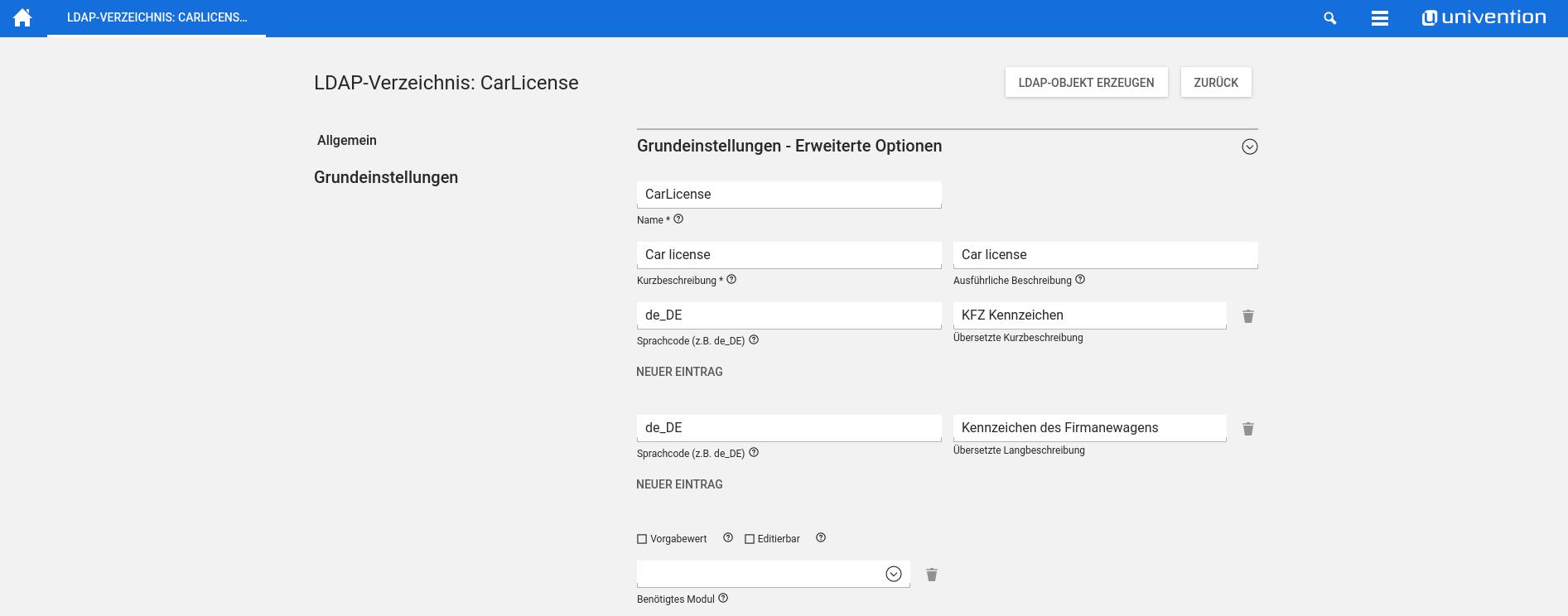 Screenshot LDAP Verzeichnis in UCS 4.2 - Erweiterte Attribute