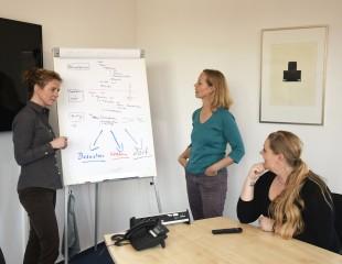 Mitarbeiterinnen Univention im Meeting