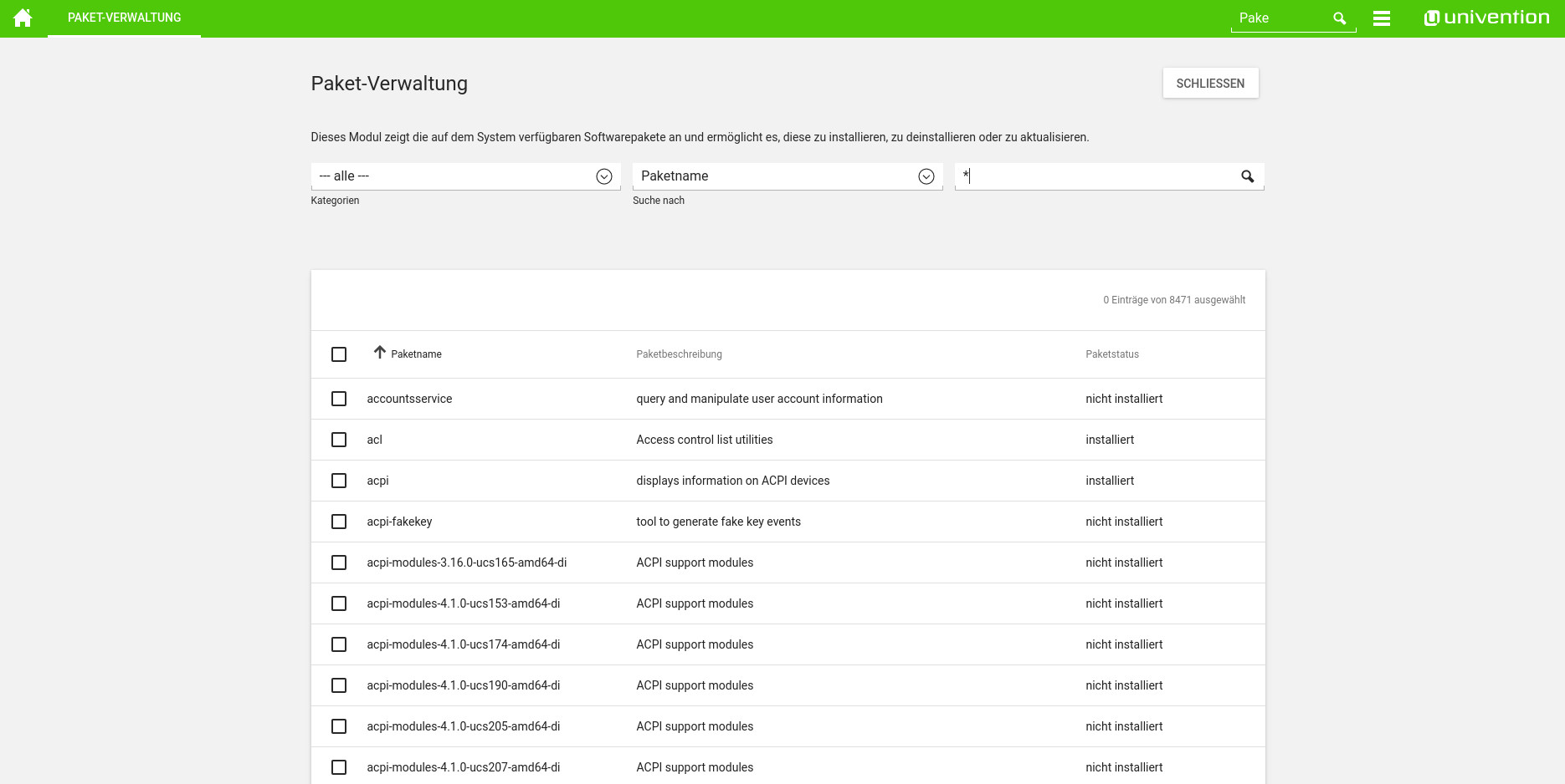 Screenshot Softwareverteilung in UCS 4.2