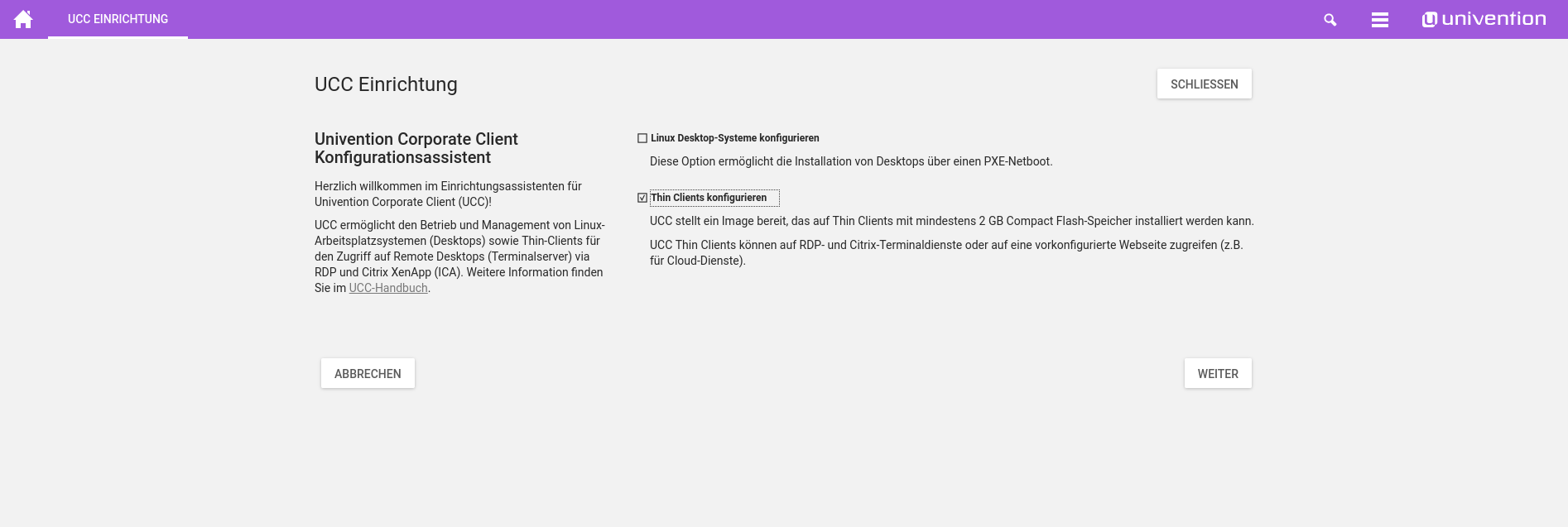 Screenshot Univention Corporate Client Einrichtungsassistent in UCS 4.2