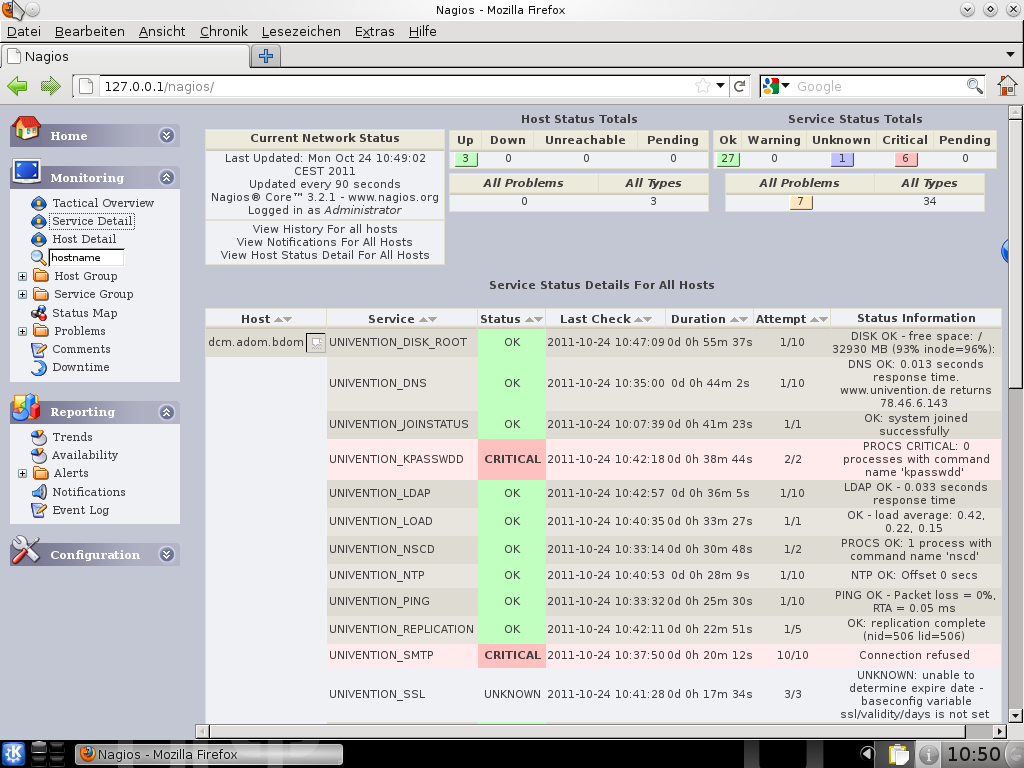Screenshot Nagios Status Webinterface