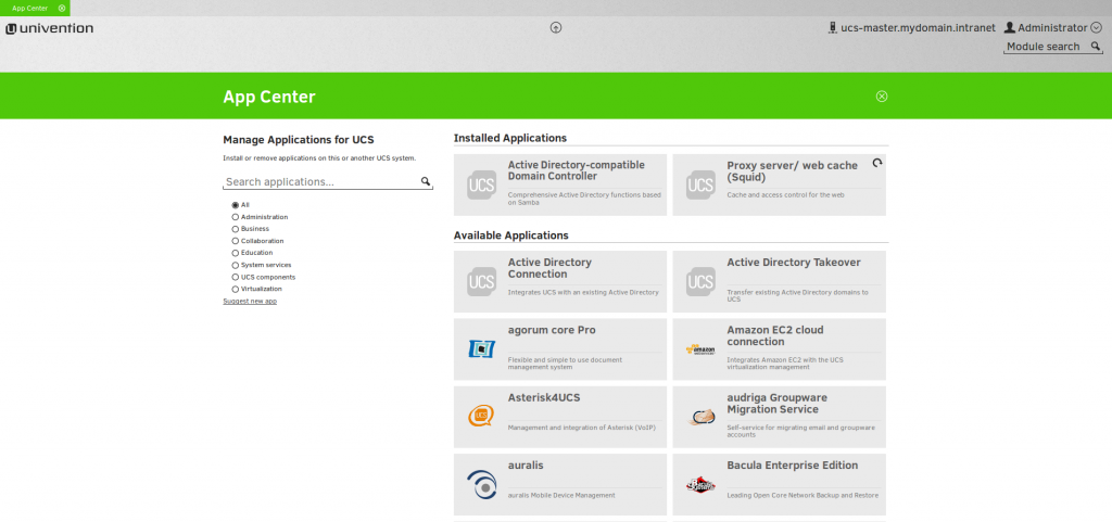 Univention App Center - Manage applications for Univention Corporate Server