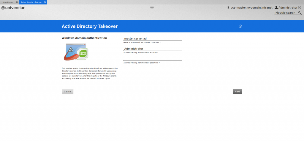 Screenshot of the Active Directory Takeover by UCS