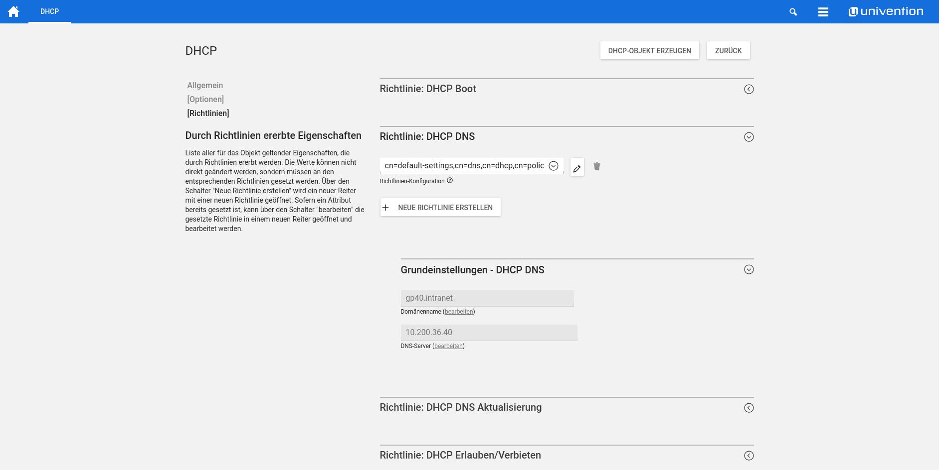Screenshot DHCP Richtlinien in UCS 4.2