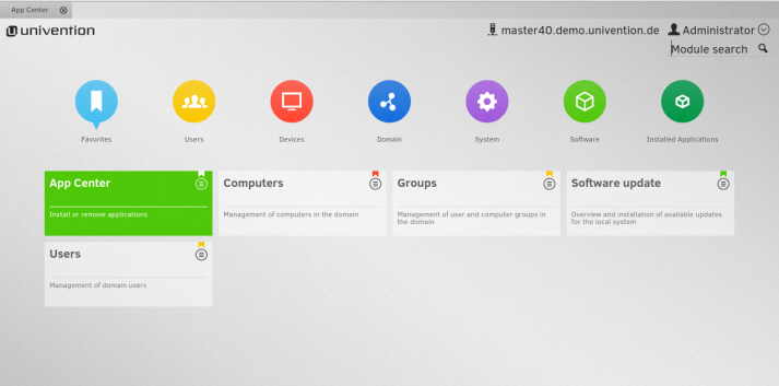 Screenshot UMC with App Center