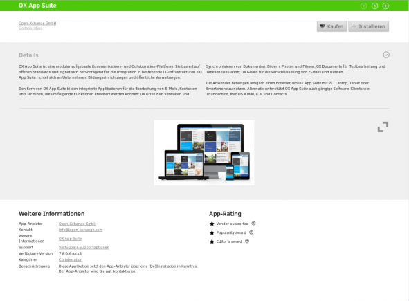 Beispiel Bewertung App im App Center