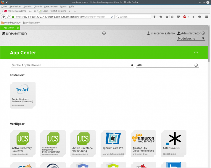 Univention App Center mit TecArt App