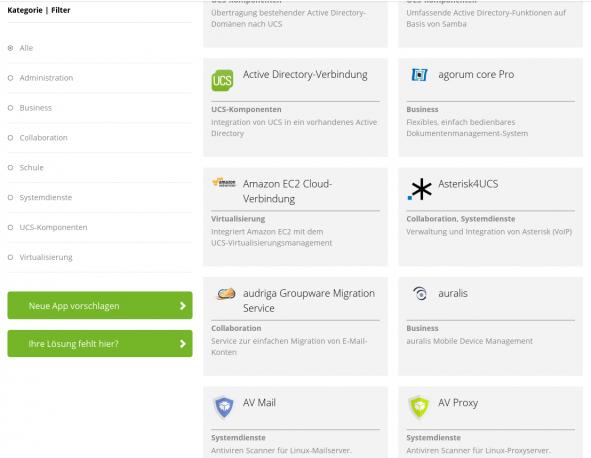 Übersicht App Katalog