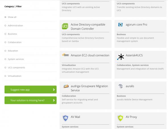 Screenshot App Catalog Univention Apps