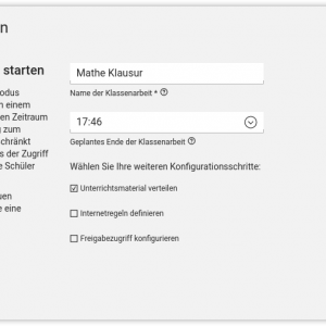 Screenshot UCS@school 4.2 Klassenarbeit starten