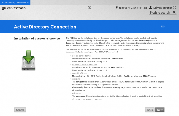 Univention Actice Directory Connection Screenshot
