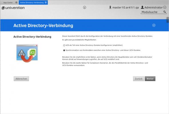Active Directory Verbindung UCS App Center