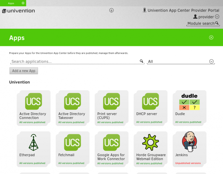 Übersicht - App Center Provider Portal
