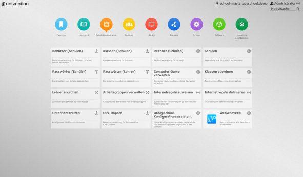 Screenshot UCS Konsole mit WebWeaver®