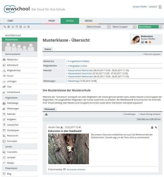 Screenshot WebWeaver® School Klassenübersicht