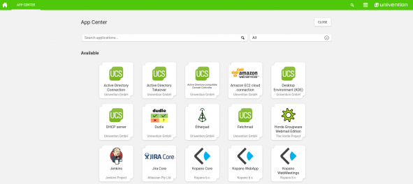 Screenshot of App Center in Univention Corporate Server 4.2