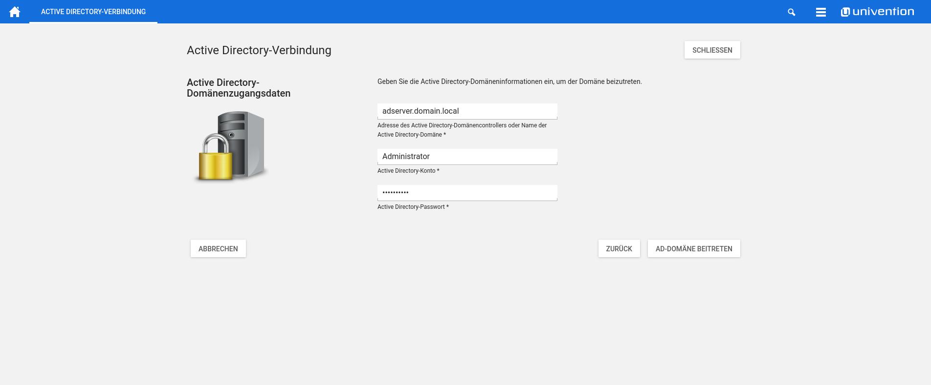 Screenshot Active Directory Verbindung Domaenenbeitritt UCS 4.2