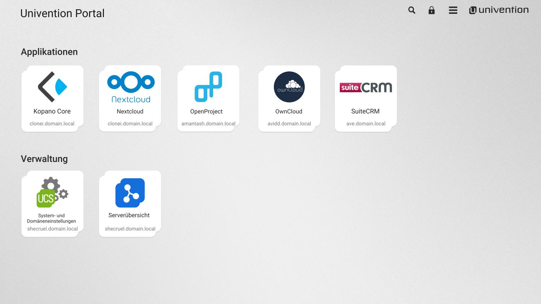 Screenshot des Online-Portals in UCS 4.2