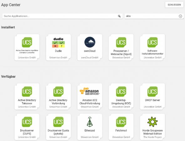 Screenshot vom App Center in UCS 4.2