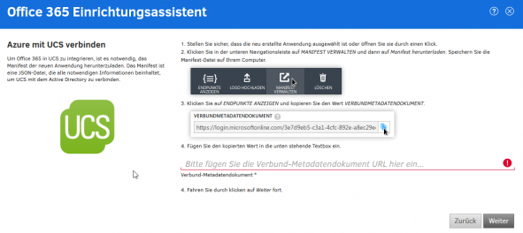 Screenshot Office 365 Anbindung in UCS@school