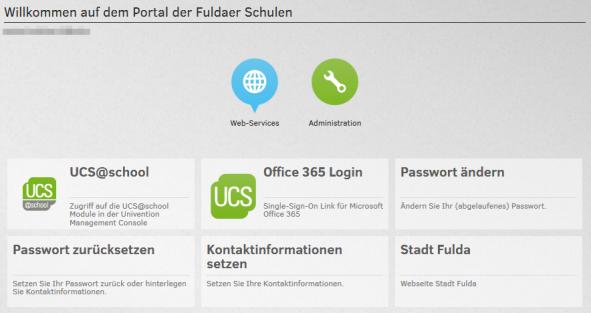 Screenshot vom Fulda Schulportal auf UCS@school