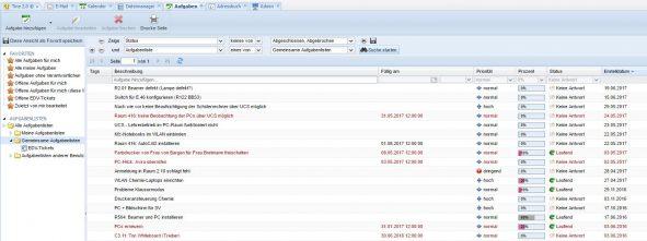 Screenshot über Aufgaben EDV-Tickets in Tine 2.0