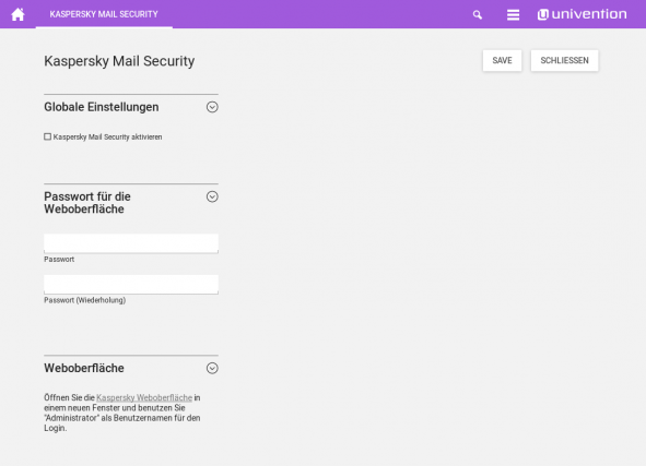 Screenshot Kaspersky Security for Linux Mail Server in UCS 4.2
