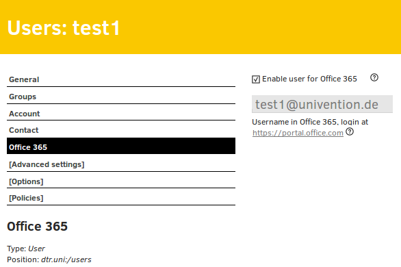 Screenshot License activation for Office 365 for a test user