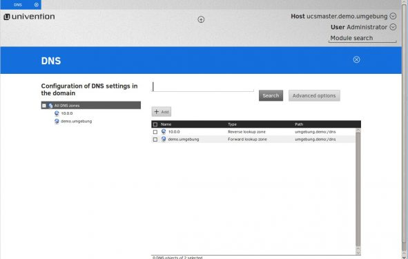 Screenshot of UCS DNS Services