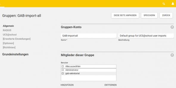 Zugriffsverwaltung für das Benutzerimport-Modul