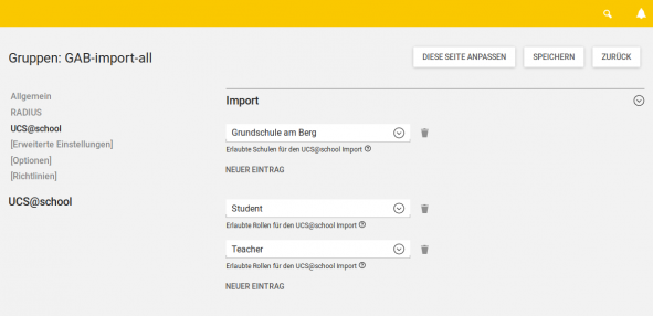 Import-Berechtigungen verwalten in UCS@school