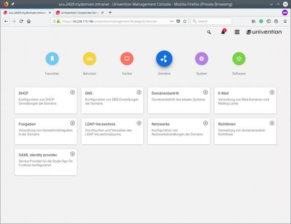Screenshot der Univention Management Console