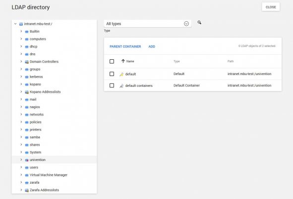 Screenshot of UCS LDAP directory