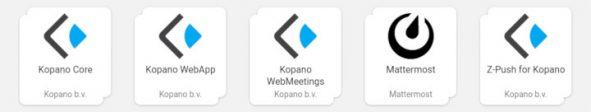 Screenshot of Mattermost and Kopano Apps in the Univention App Center