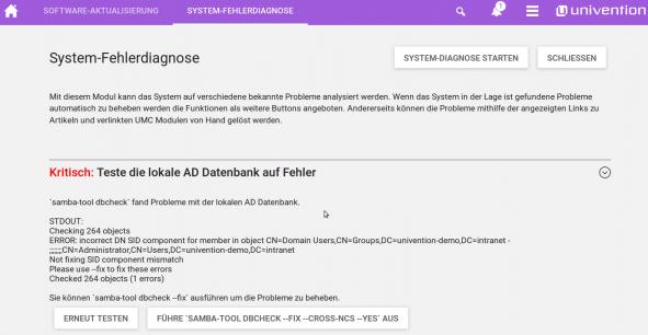 Screenshot vom Modul System-Fehlerdiagnose in UCS