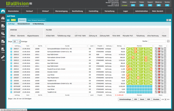 Screenshot von der Auftragsansicht/Warenwirtschaft in WaWision