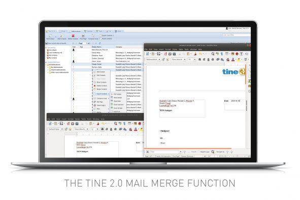 Screenshot of mail merge function in Tine 2.0 Caroline