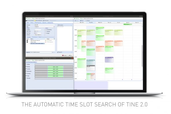 Screenshot of automatic time slot search function in Tine 2.0 Caroline
