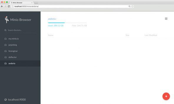 Screenshot of Minio