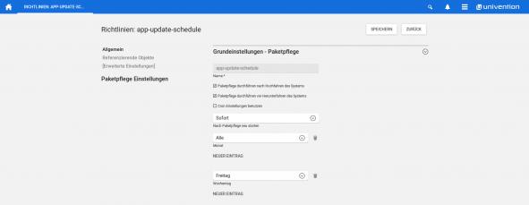 Screenshot Richtlinien - Allgemeine Paketpflege-Einstellungen