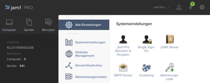 Screenshot der jamf-Benutzeroberfläche