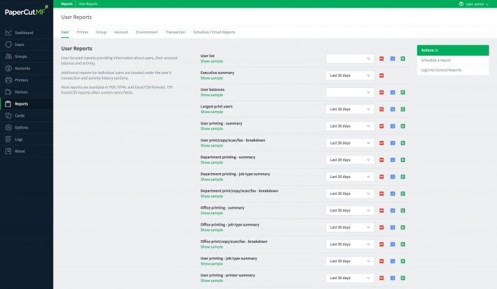 User Reports in der Druckermanagement Software PaperCut