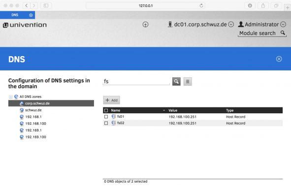 Screenshot DNS Configuration in UCS