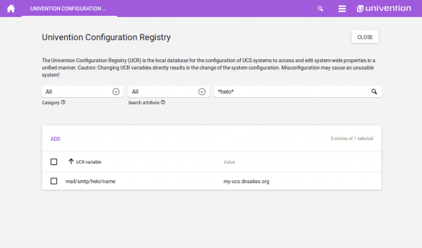 Screenshot of the Univention Configuration Registry
