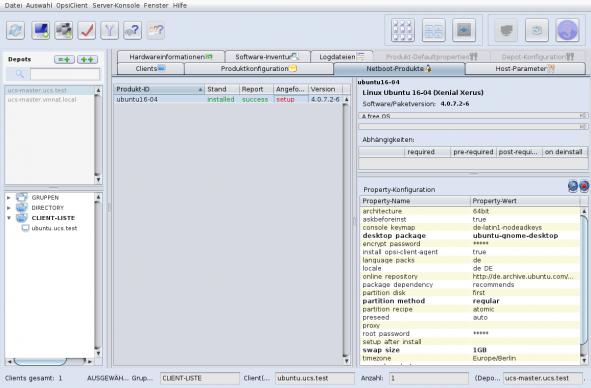 Screenshot von opsi mit Ubuntu 16-04