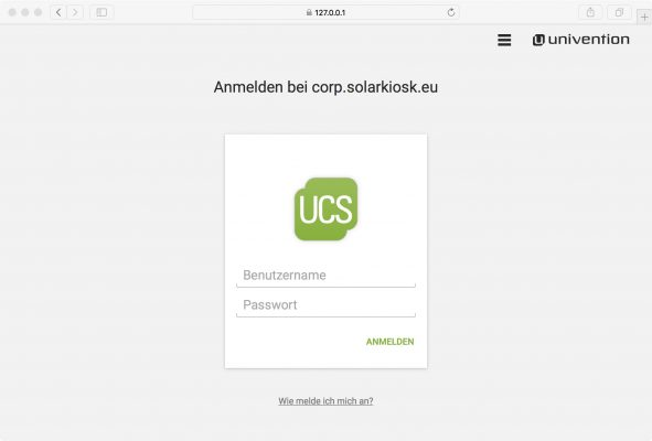 Screenshot des Login von Solarkiosk's UCS domain