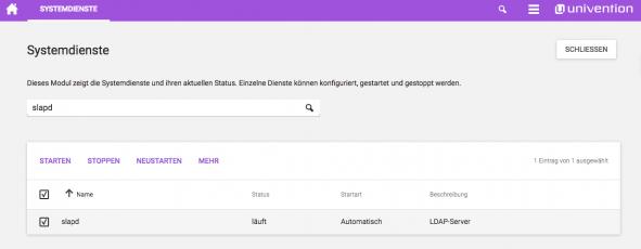 Screenshot Systemdienste UCS