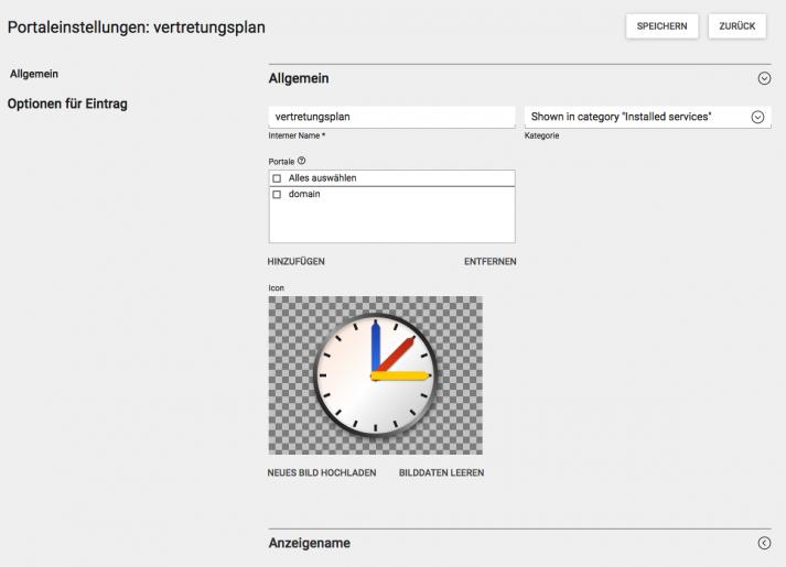 Screenshot WebUntis Portaleinstellungen Vertretungsplan WebUntis