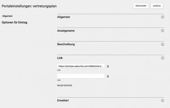 Screenshot WebUntis Portaleinstellungen Vertretungsplan - 2